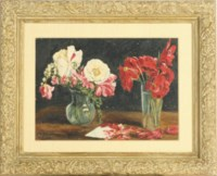 Still life of Poppies and other flowers in a vase