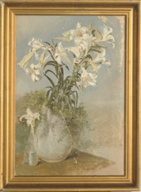 Still life of white lilies in a vase; and five companion works