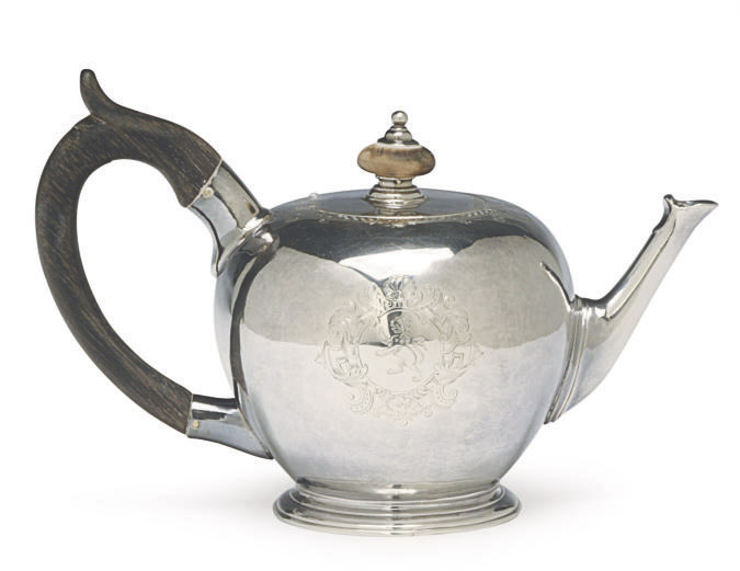 A GEORGE II SILVER BULLET-FORM TEAPOT WITH HINGED COVER,