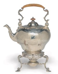 A GEORGE II SILVER HOT WATER KETTLE AND STAND,