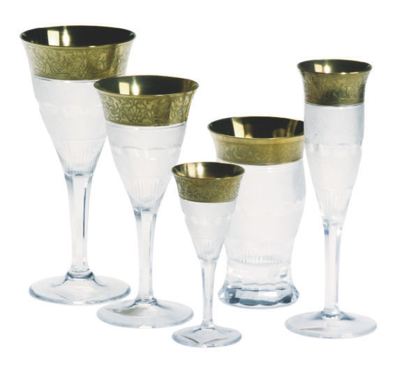 AN AUSTRIAN GILT AND CUT GLASS STEMWARE SERVICE,