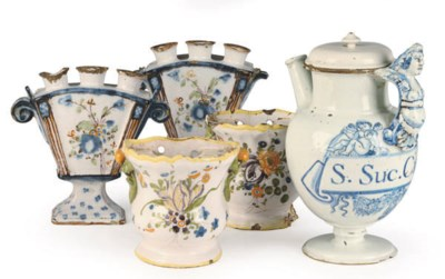 TWO PAIR OF FRENCH FAIENCE FLO