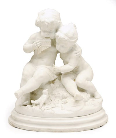 A SEVRES STYLE BISCUIT FIGURE