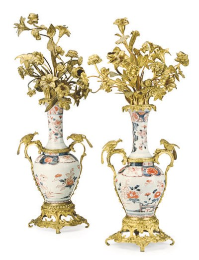 A PAIR OF GILT METAL AND JAPAN