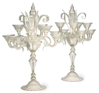 A PAIR OF ITALIAN MURANO GLASS