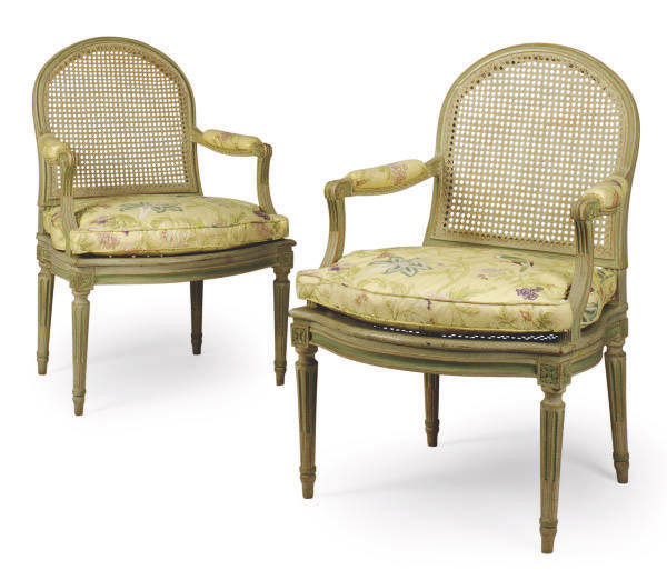 A PAIR OF LOUIS XVI GREY AND GREEN-PAINTED CANED FAUTEUILS,