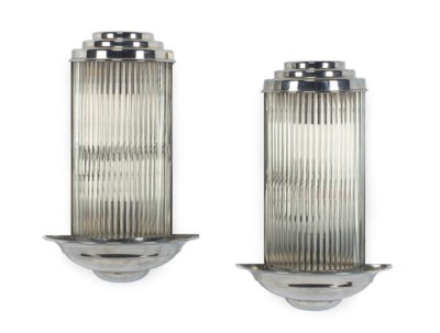 A PAIR OF CHROMED-METAL AND GL