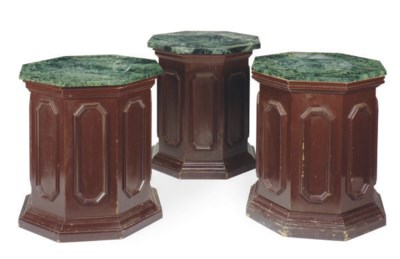 THREE BROWN-PAINTED AND MARBLE