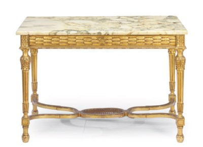 A FRENCH GILTWOOD AND MARBLE-T