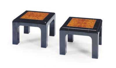 A PAIR OF LACQUER AND BURLWOOD