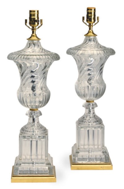 A PAIR OF MOLDED GLASS TABLE L