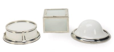 A GROUP OF FIVE METAL AND GLAS