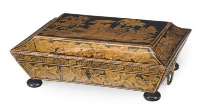 A REGENCY PENWORK TABLE BOX,