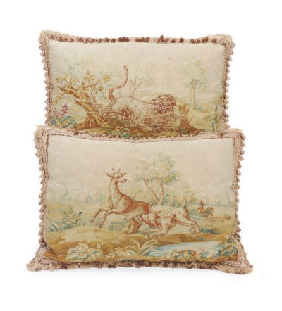 TWO AUBUSSON TAPESTRY PILLLOWS