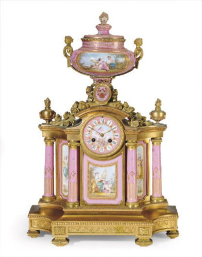 A SEVRES STYLE GILT METAL AND