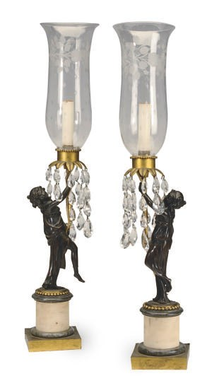 A PAIR OF PATINATED, GILT-BRON