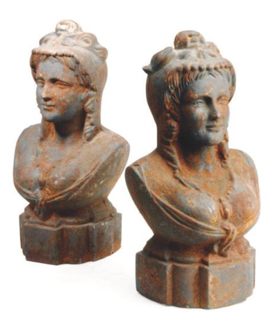 A PAIR OF CAST IRON BUSTS OF M