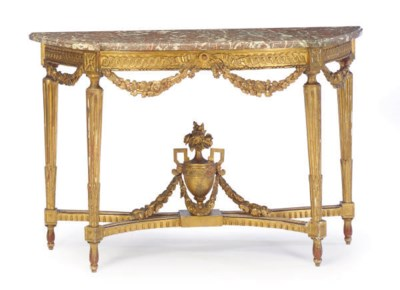 A LOUIS XVI GILTWOOD AND MARBL