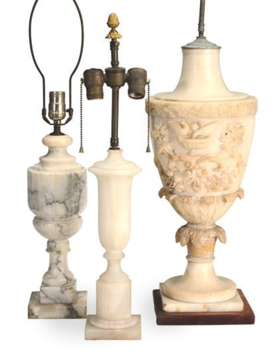 A GROUP OF THREE CARVED ALABAS