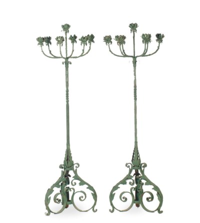 A PAIR OF GREEN-PAINTED WROUGH