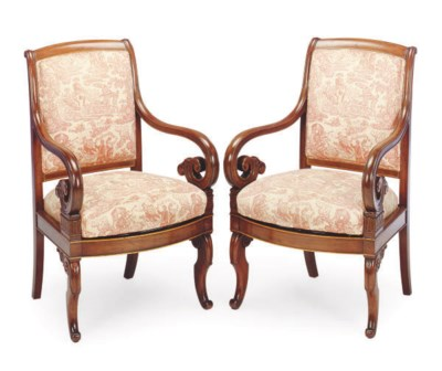 A PAIR OF FRENCH WALNUT ARMCHA