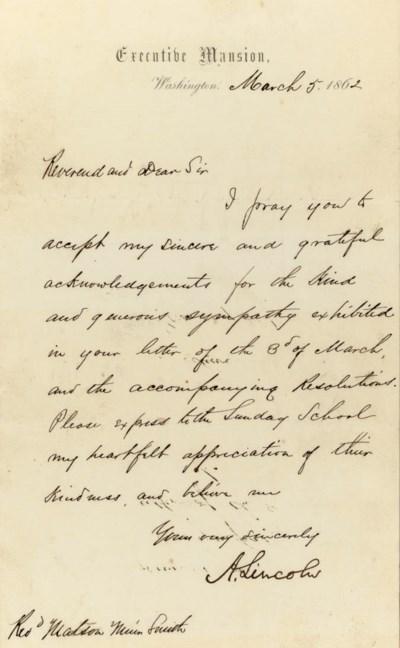 LINCOLN, Abraham. Letter signe