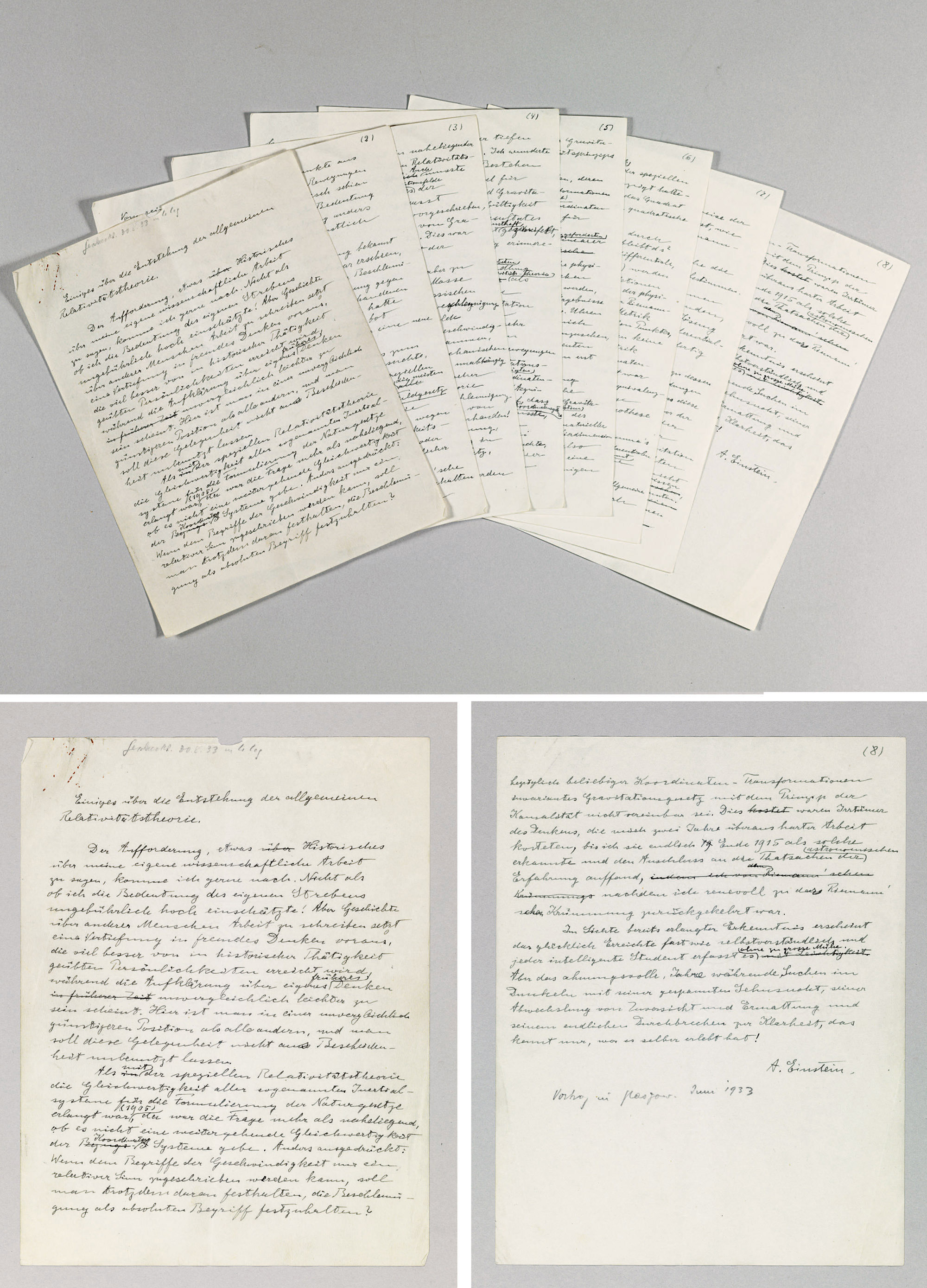 """EINSTEIN, Albert (1879-1955). Autograph manuscript signed (""""A. Einstein"""" on last page), constituting Einstein's lecture """"The Origin of the General Theory of Relativity"""" (""""Einiges über die Entstehung der allgemeinen Relativitätstheorie""""), delivered as the first George A. Gibson Lecture at the University of Glasgow, 20 June 1933. A working draft with extensive deletions and interlinear additions. No place, undated, but ca. June 1933."""