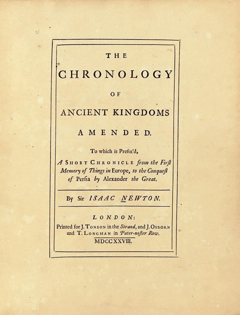 NEWTON, Isaac. The Chronology