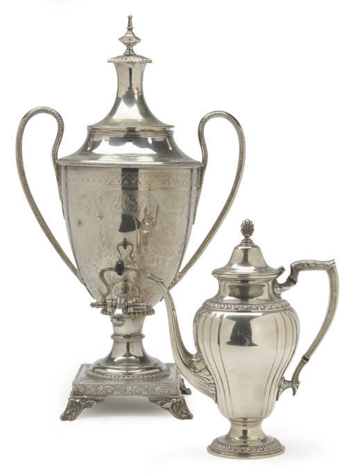 A SILVER-PLATED HOT WATER URN AND COVER, AND A SILVER-PLATED TEAPOT WITH HINGED COVER,