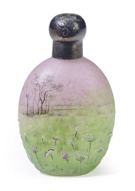 A FRENCH SILVER MOUNTED ETCHED AND ENAMELED GLASS 'PAIRIE LANDSCAPE' SCENT BOTTLE,