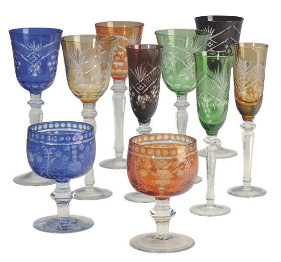 A CUT AND FLASHED GLASS PART STEMWARE SERVICE,
