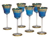 A FRENCH GILT AND CUT GLASS PART STEMWARE SERVICE,