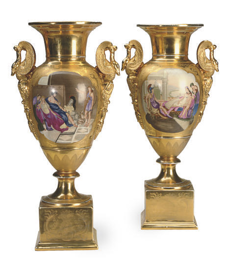 A LARGE PAIR OF MODERN GOLD-GROUND SWAN HANDLED PORCELAIN VASES ON FIXED STANDS,