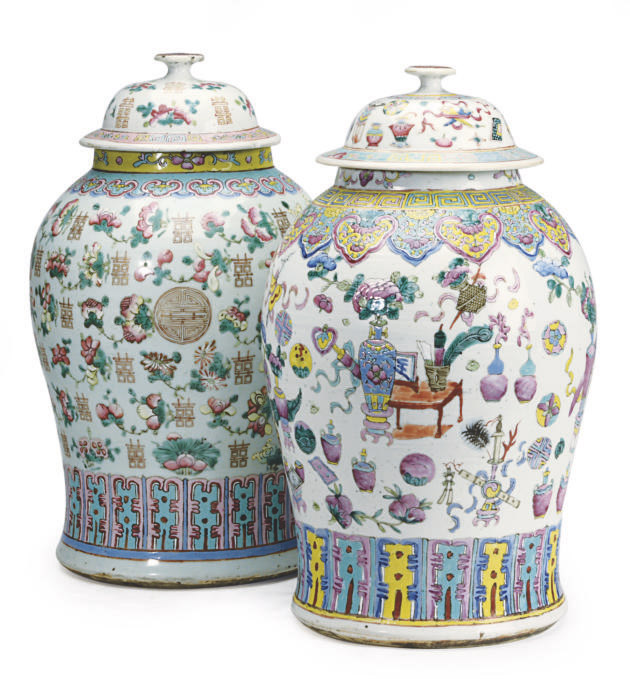 TWO SIMILAR LARGE CHINESE EXPORT FAMILLE ROSE JARS AND COVERS,
