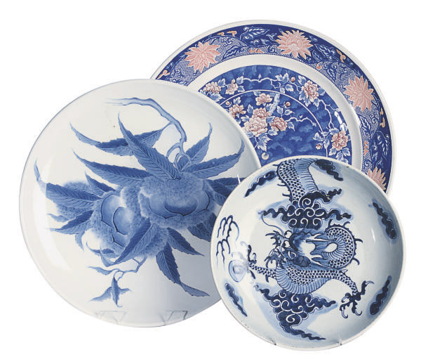 ONE CHINESE PORCELAIN BLUE AND WHITE CHARGER, AND TWO ASIAN-STYLE CHARGERS,