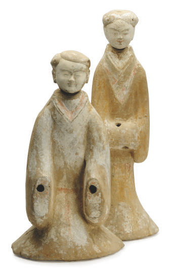 TWO LARGE CHINESE PAINTED POTTERY FIGURES OF FEMALE ATTENDANTS,