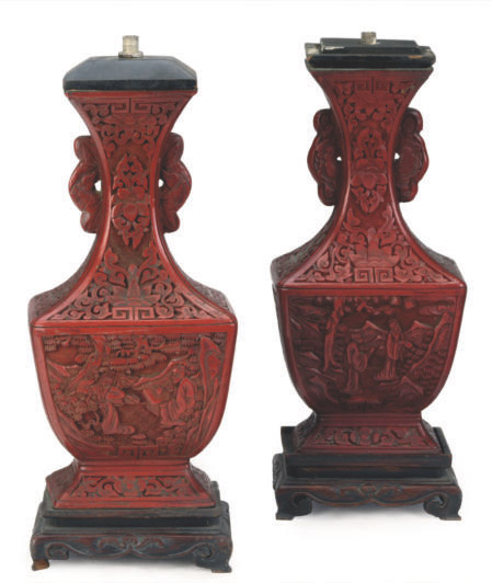 TWO SIMILAR CHINESE CINNABAR LACQUER HU-FORM VASES MOUNTED AS LAMPS,