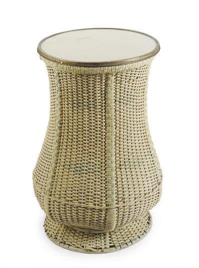 AN EDWARDIAN GREY AND BLUE PAINTED WICKER SIDETABLE,