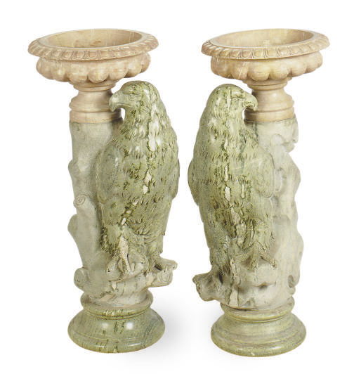 A PAIR OF ITALIAN MARBLE FIGURAL JARDINIERES,