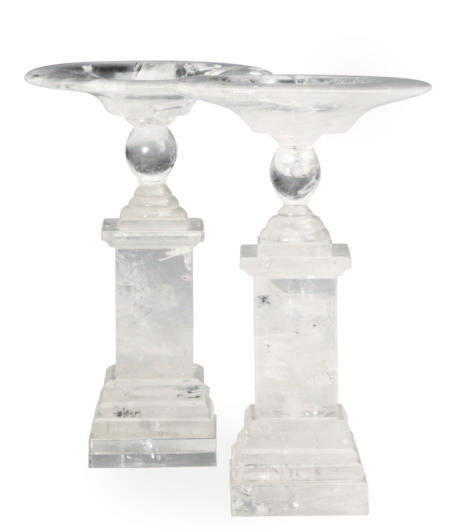 A PAIR OF NEO-CLASSICAL STYLE ROCK CRYSTAL TAZZAS,