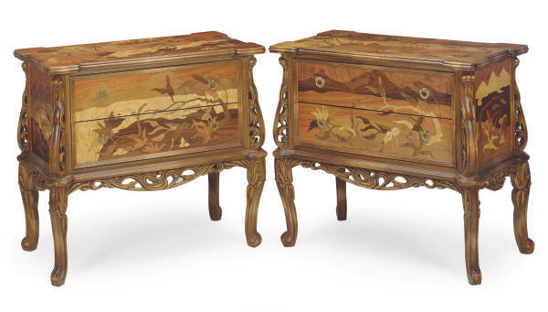 A PAIR OF ART NOUVEAU-STYLE FRUITWOOD AND MARQUETRY COMMODES,