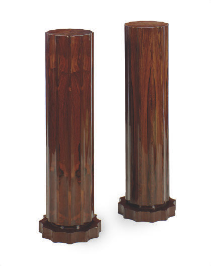 A PAIR OF CARVED ROSEWOOD PEDESTALS,