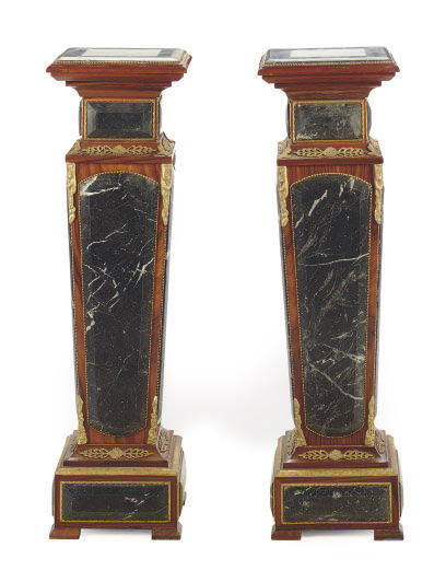 A PAIR OF GILT-METAL MOUNTED MARBLE AND ROSEWOOD PEDESTALS,