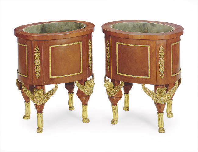 A PAIR OF EMPIRE STYLE GILT METAL PLANTERS,