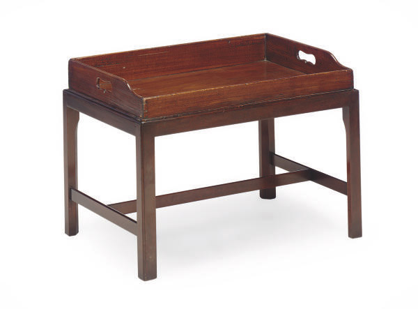 AN ENGLISH MAHOGANY BUTLER'S TRAY ON LATER LOW STAND,