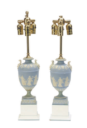 A PAIR OF ENGLISH PALE-BLUE JASPER VASES MOUNTED AS LAMPS,