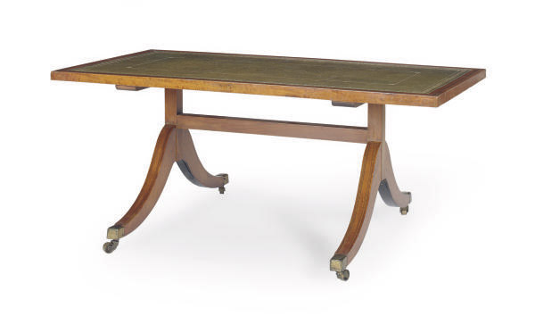 AN ENGLISH INLAID SATINWOOD AND LEATHER-TOP LOW TABLE,