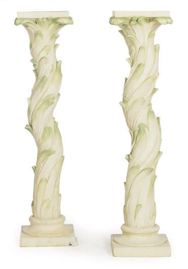 A PAIR OF CREAM AND GREEN-PAINTED PLASTER PEDESTALS,