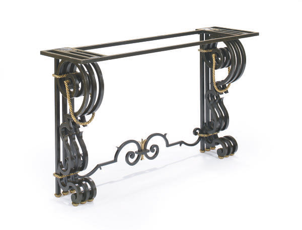 A WROUGHT IRON AND PARCEL GILT CONSOLE TABLE,