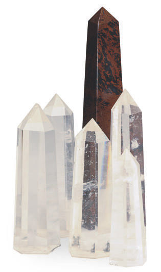 A GROUP OF SIX ROCK CRYSTAL AND MARBLE OBELISKS